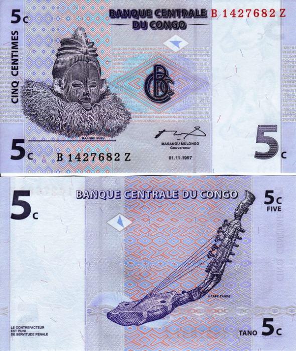5 Centimes Kongo Dem.Rep. 1997, Pick 81