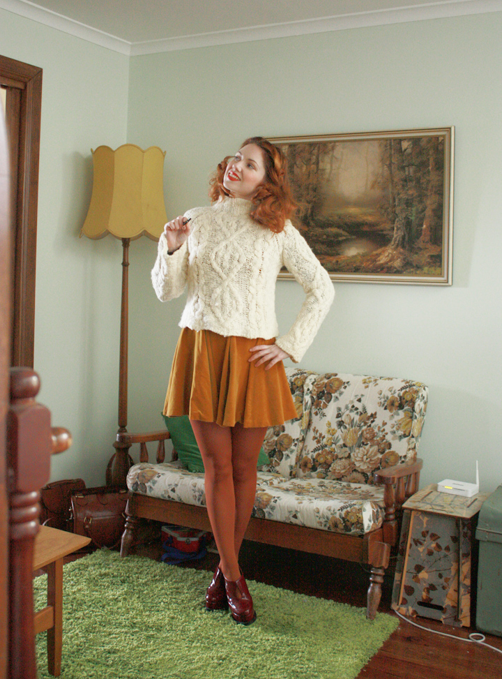 mustard velvet vintage and jumper a