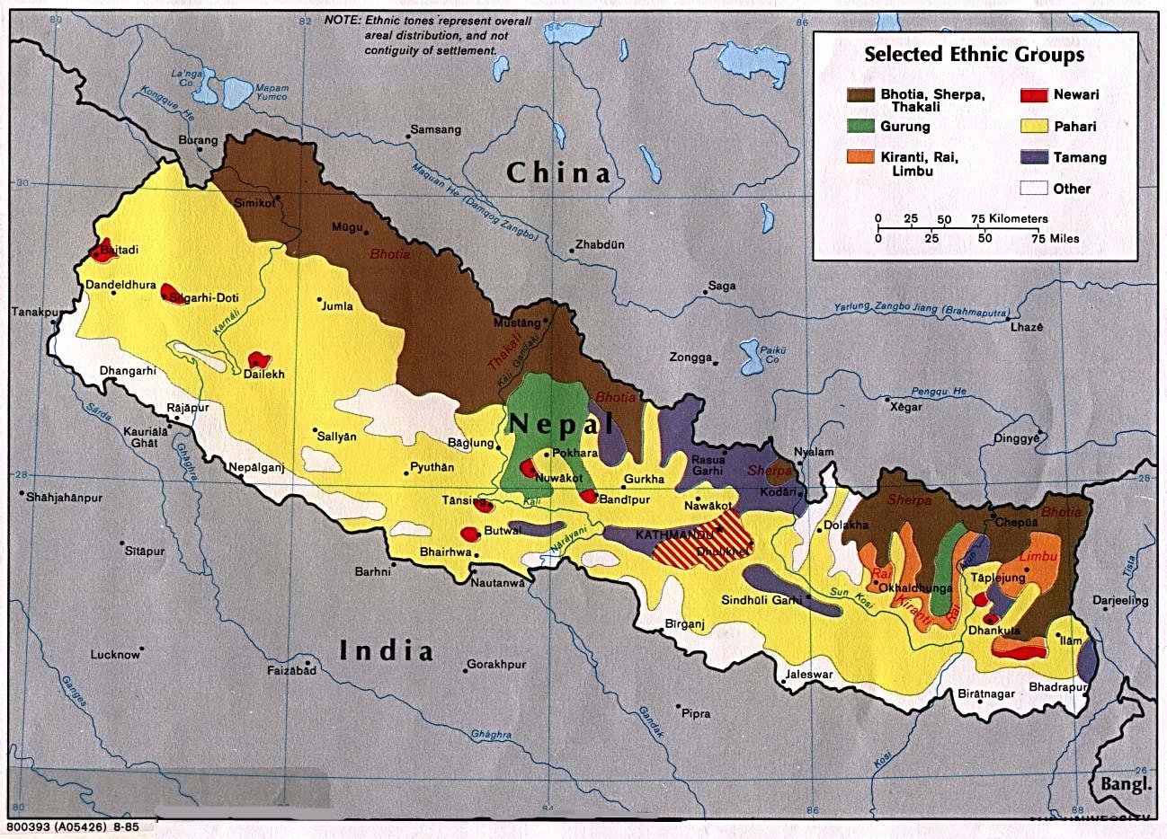 Mapa dos grupos étnicos do Nepal