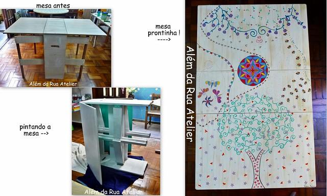 Pintura e restauração de mesa de madeira