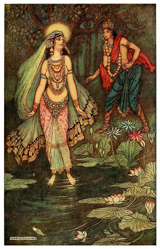 002-Shantanu se encuentra con la diosa Ganga-Indian myth and legend 1913-Warwick Goble