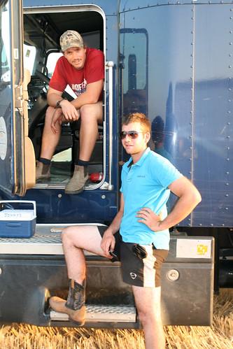 Bux and Jonny wait for their trucks to get full