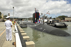PEARL HARBOR, Hawaii (June 1, 2012) Virginia-class submarine USS North Carolina (SSN 777) returns to Joint Base Pearl Harbor-Hickam after completing her maiden Western Pacific deployment. (U.S. Navy photo by Mass Communication Specialist 2nd Class Ronald Gutridge)