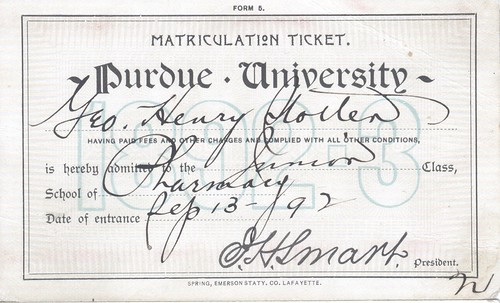 George Stotler Purdue Matriculation ticket 1892