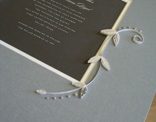 Quilled Wedding Invitation with Ivory and Silver Scrolls