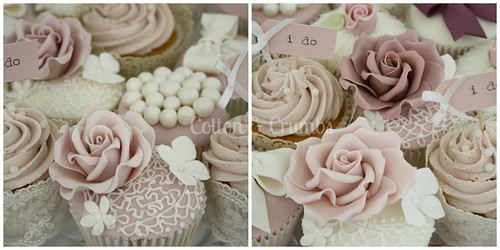 Dusky pink vintage cupcakes by Cotton and Crumbs