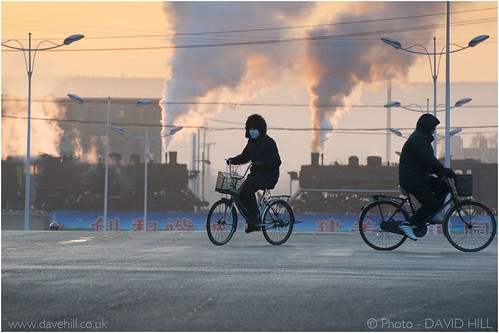 china railroad people sunrise railway competition steam bicycles trainspotting 2012 fuxin