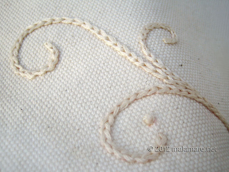 hand embroidery chain stitch cream swirls
