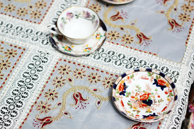 teacups and tablecloth