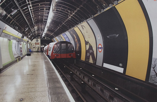 Tube train tent in Charing Cross station