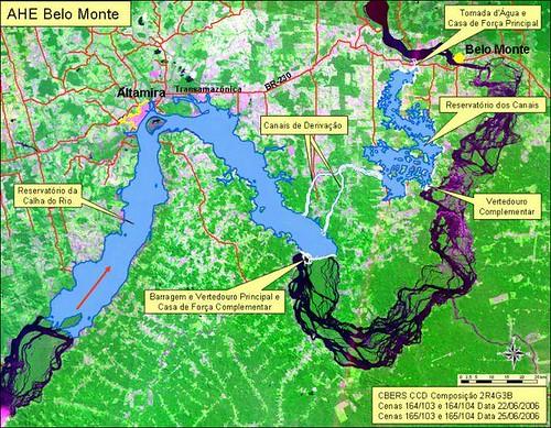 美山水壩(Belo Monte)施工位置圖,ISA提供,Marcelo Salazar製作