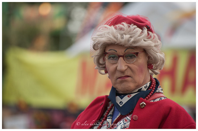 One of the Segway grannies that drive around the festival site,