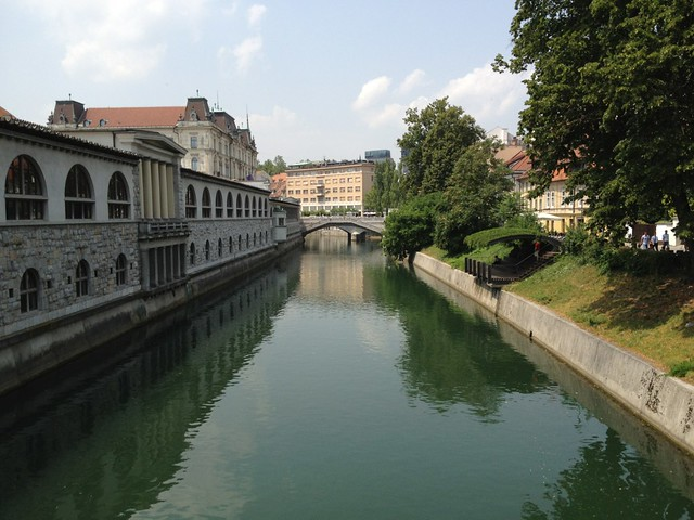 Looking down the Ljubljanica River