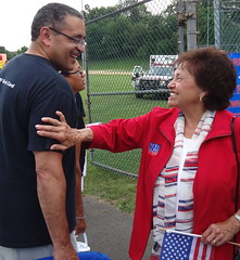 Sharing a laugh with a constituent in Clarkstown.