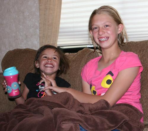 Mikaela and Kaidence enjoy a giggle