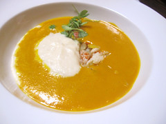 Carrot Soup: Dungeness Crab, Cauliflower Mousse, Coriander