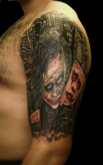 laugh now cry later joker tattoo by steli