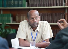 Solomon Gizaw listening intently at the Ethiopia Small Ruminant Value Chain Consultative Meeting