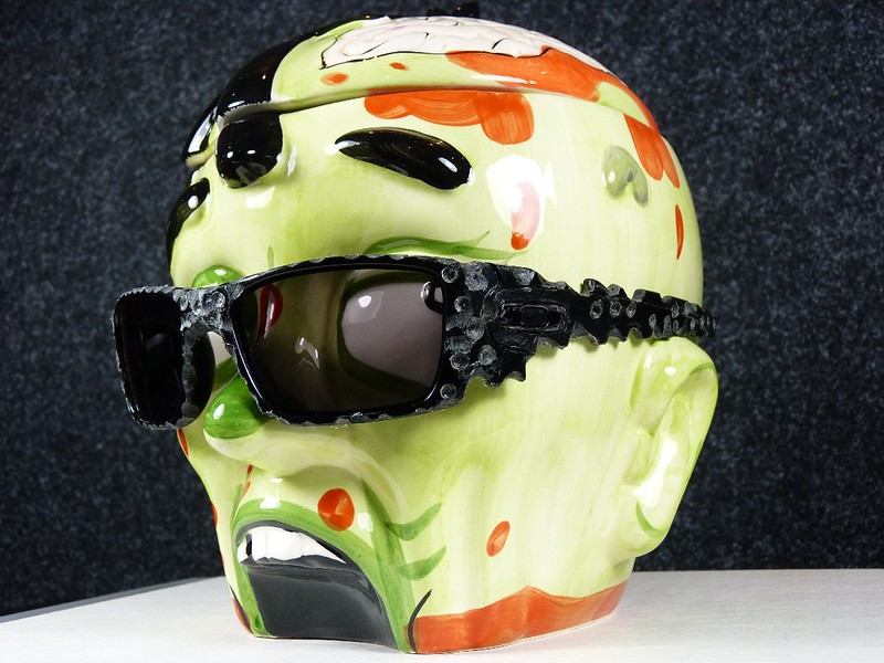 Zombie Head Cookie Jar w/Oakley Fuel Cell Bulletproof Dremel Edition w/Black Irid