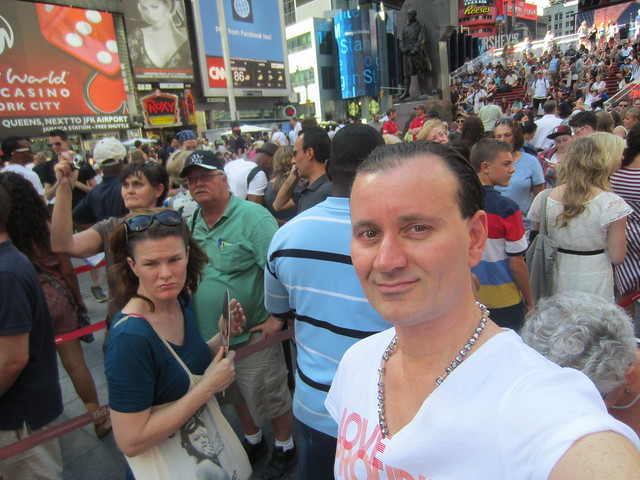 Ryan Janek Wolowski, on TKTS discount Broadway ticket line in Times Square New York City USA