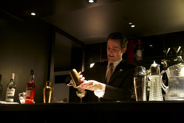 Chris Moore, Head Bartender at The Savoy Beaufort Bar, mixes up his Bacardi Legacy creation The Encantador