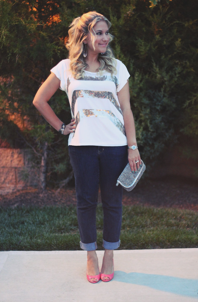 sequin tee for a night out