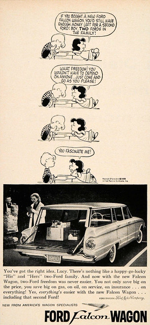 1960 Ford Falcon wagon ad feat. Peanuts