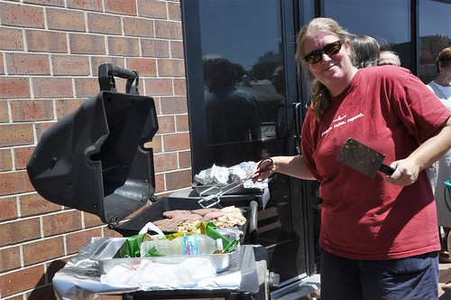 Jane Marita is heating things up to bring in donations for Feds Feed Families. (photo credit Lori Bocher)