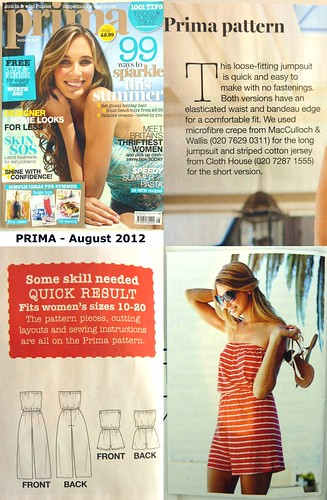 Prima Magazine Knitting Patterns : Sew, incidentally...: PRIMA Pattern - August 2012, Jumpsuit / Playsuit