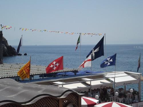 Marina Grande beach - Amalfi - Ristorante Silver Moon Pizzeria - Maritime Republic's of Italy flags