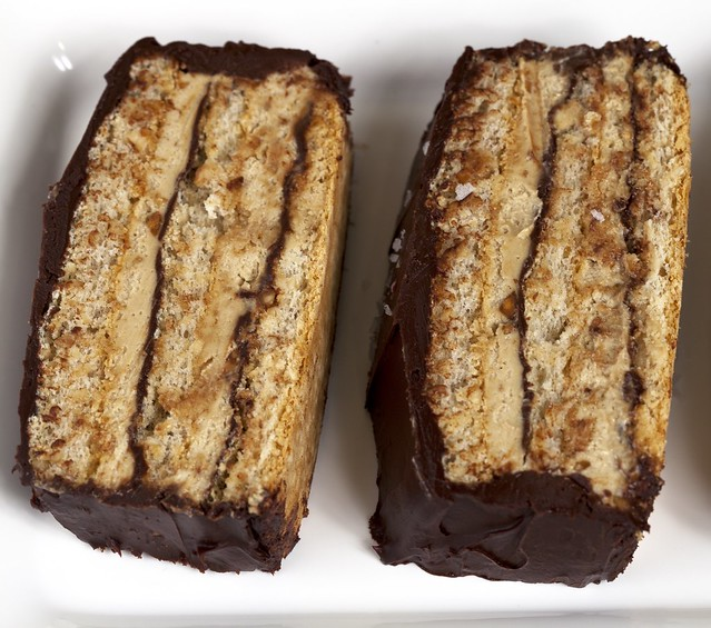 Peanut Dacquoise with Peanut Butter Mousse and Chocolate Glaze