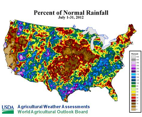 Percent of Normal Rainfall, July 1-31, 2012