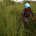 UNMISS Peacekeepers perform weapons sweep on the outskirts of PoC site 3, Juba