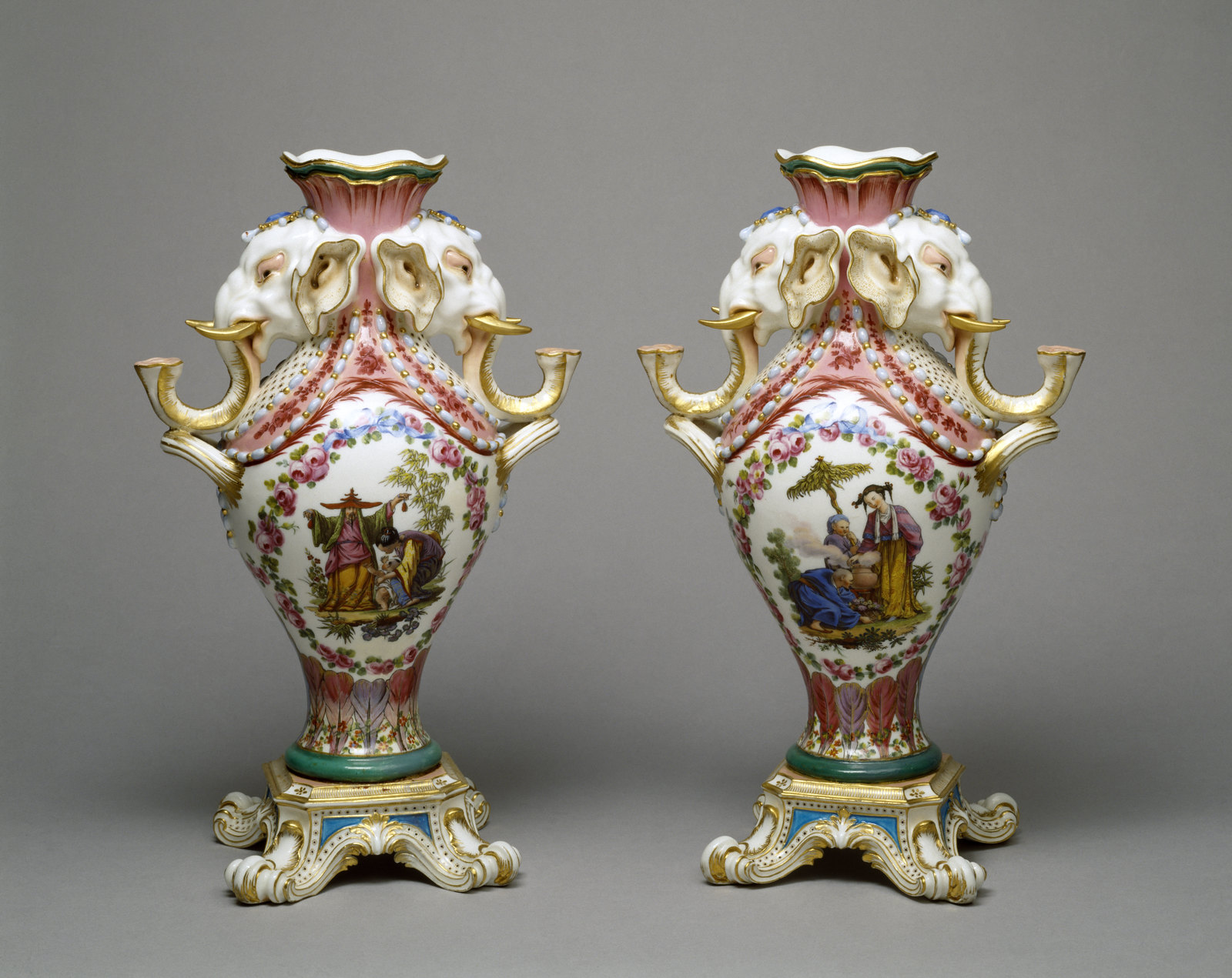 Pair of Vases. Charles Nicolas Dodin, Sèvres, France, 1760. Walters Art Museum