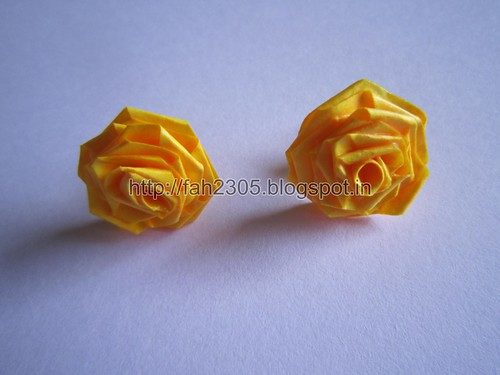 Handmade Jewelry - Paper Rose Earrings (Yellow) (1) by fah2305
