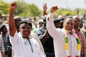 ANCYL President Julius Malema Vice President Motlanthe giving the Black Power salute in South Africa. The ANC will hold a national congress later in 2012. by Pan-African News Wire File Photos