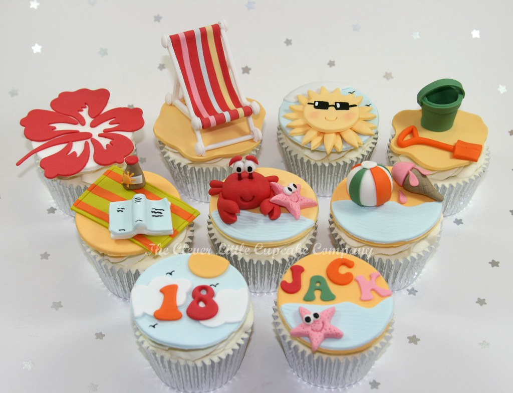 Beach Themed Birthday Cupcakes - a photo on Flickriver