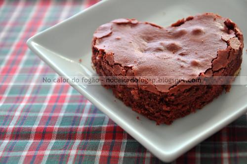Red velvet brownie em forma de coração