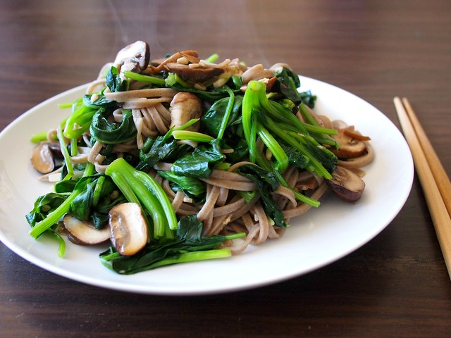 sweet spinach, mushroom, and ramps soba noodles