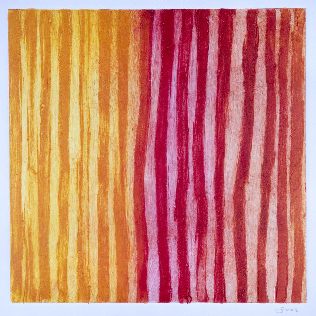 Anita Soos, CT, USA | Red Cadence Carborundum aquatint monop