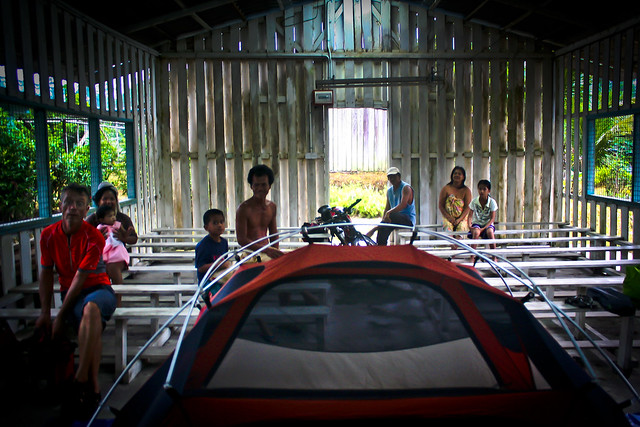 camping at a church in Borneo