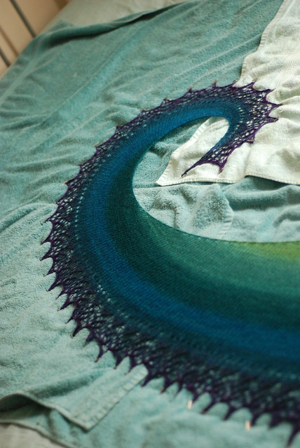 Curly spiral galaxy shawl green to blue to purple gradient colorshift