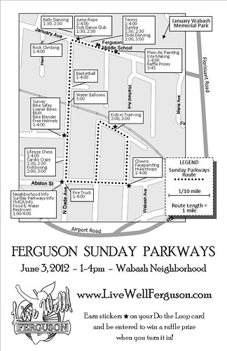 Ferguson Sunday Parkway map for June 3 (courtesy of LiveWell Ferguson)