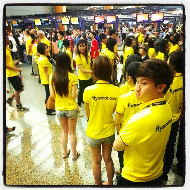 Scoot staff turned Changi Airport Terminal 2 into a sea of yellow