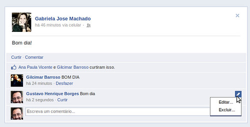 Editar comentário no Facebook