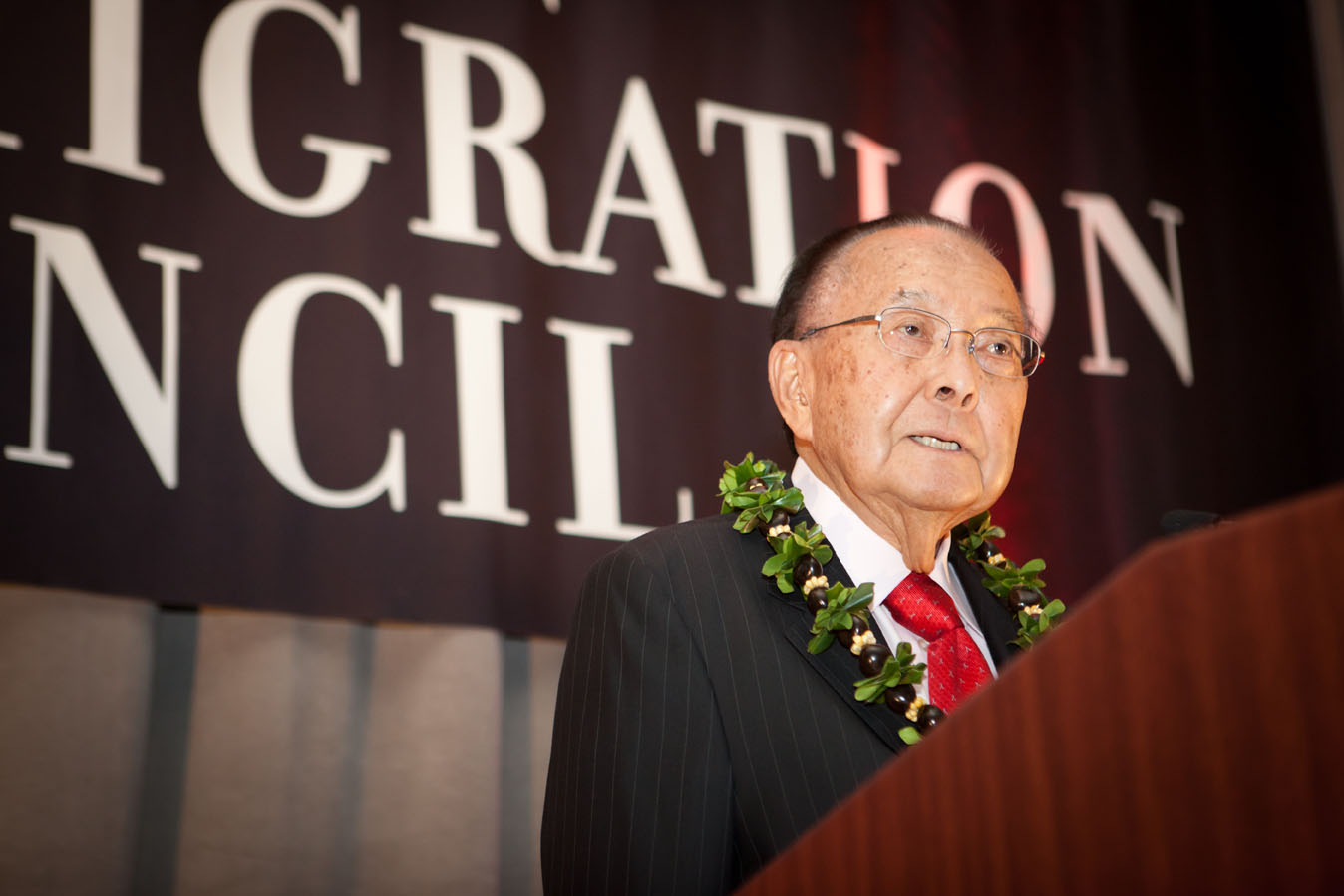 Late Senator Daniel Inouye accepting his Stephen K. Fischel Distinguished Public Service Award from the American Immigration Council, Spring 2011