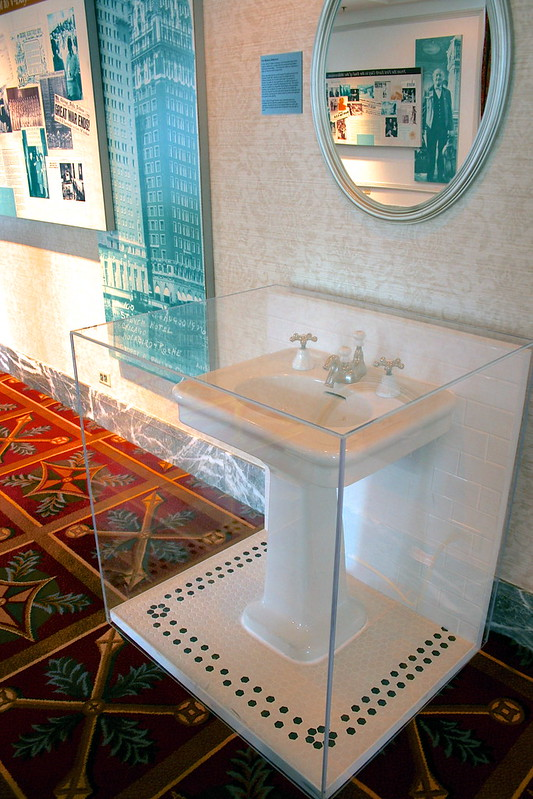 An original sink in the Archive Display at the Hilton Hotel, Chicago
