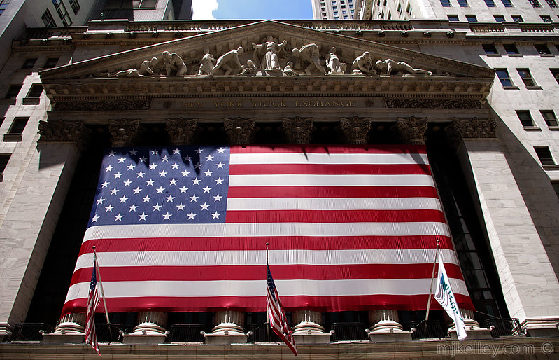 New York Stock Exchange With US Flag