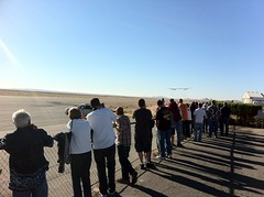 The crowds watch the spectacular flights of VSS Enterprise and VMS Eve as they both land back home in Mojave, CA..
