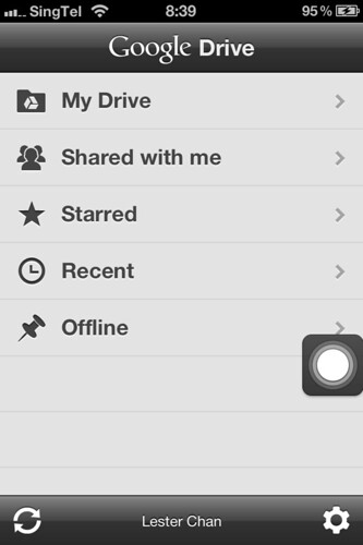 Google Drive iOS (iPhone) - Home